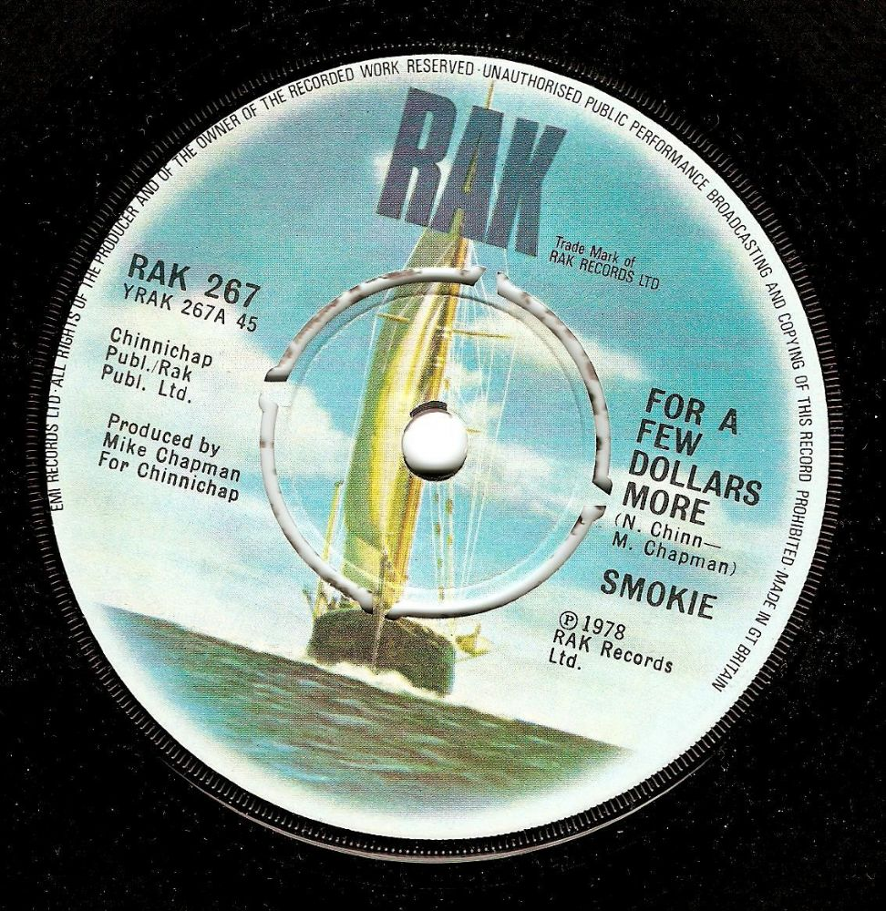 SMOKIE For A Few Dollars More Vinyl Record 7 Inch RAK 1978